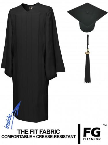 Matte Bachelor Academic Cap, Gown & Tassel black