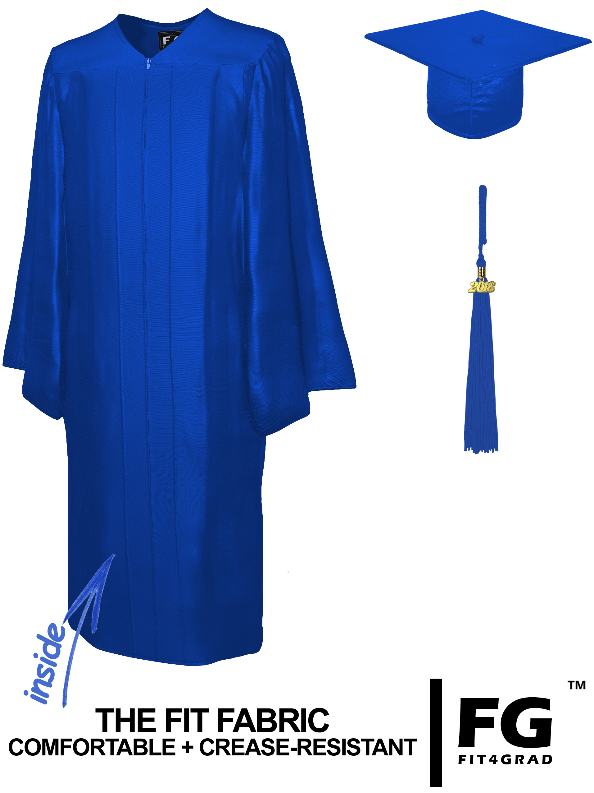 Shiny Bachelor Academic Cap, Gown & Tassel royal blue-cf100400