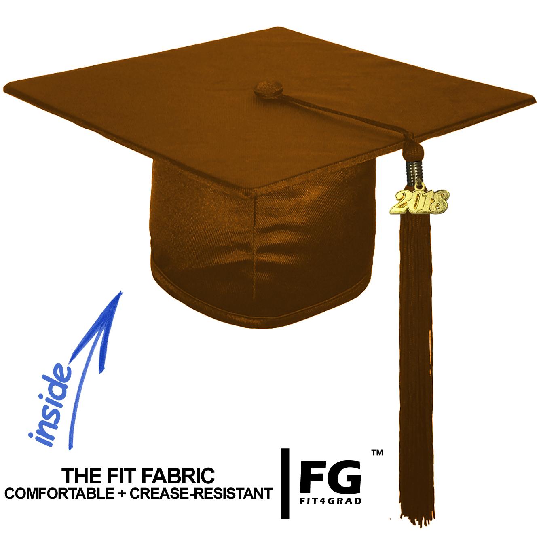 Shiny Bachelor Academic Cap, Gown & Tassel brown-cf102400