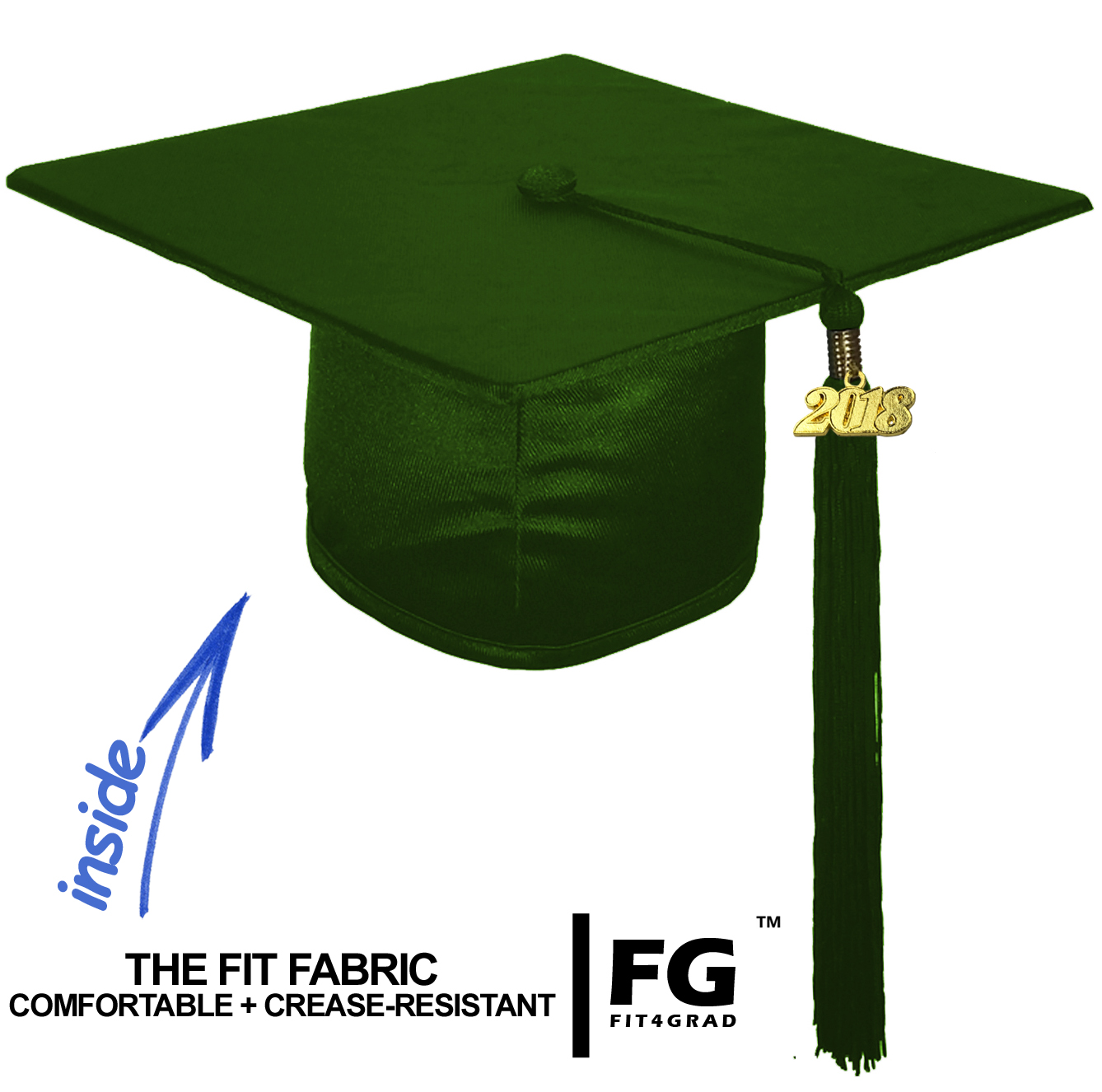 Shiny Bachelor Academic Cap, Gown & Tassel forest green-cf105800