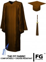 Shiny Bachelor Academic Cap, Gown & Tassel brown