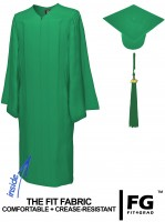 Matte Bachelor Academic Cap, Gown & Tassel emerald-green
