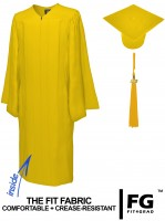 Matte Bachelor Academic Cap, Gown & Tassel yellow-gold