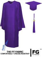 Shiny Bachelor Academic Cap, Gown & Tassel purple
