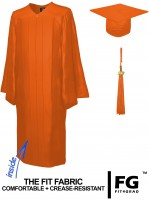 Shiny Bachelor Academic Cap, Gown & Tassel orange