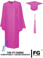 Shiny Bachelor Academic Cap, Gown & Tassel pink
