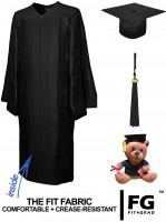 Shiny Bachelor Academic Cap, Gown & Tassel black