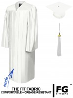 Shiny Bachelor Academic Cap, Gown & Tassel white