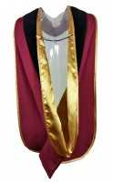 Academic velvet hood, black-red-yellow
