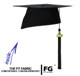 Doctoral cap ELEGANT with year tassel, black