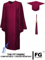 Shiny Bachelor Academic Cap, Gown & Tassel maroon-red
