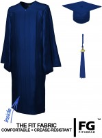 Shiny Bachelor Academic Cap, Gown & Tassel navy blue