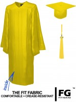 Shiny Bachelor Academic Cap, Gown & Tassel yellow-gold