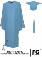 Shiny Bachelor Academic Cap, Gown & Tassel sky-blue