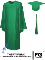 Shiny Bachelor Academic Cap, Gown & Tassel emerald-green