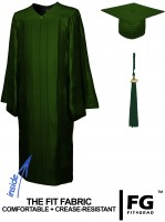 Shiny Bachelor Academic Cap, Gown & Tassel forest green