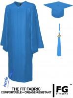 Shiny Bachelor Academic Cap, Gown & Tassel sky-blue