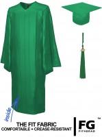 Shiny Bachelor Academic Cap, Gown & Tassel emerald-green