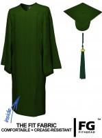 Matte Bachelor Academic Cap, Gown & Tassel forest green