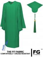 Matte Bachelor Academic Cap, Gown & Tassel emerald-green