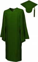 Matte Bachelor Academic Cap, Gown & Tassel forest green