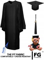 Shiny Bachelor Academic Cap, Gown & Tassel black