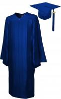 Shiny Bachelor Academic Cap, Gown & Tassel navy blue