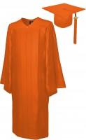 Shiny Bachelor Academic Cap, Gown & Tassel orange